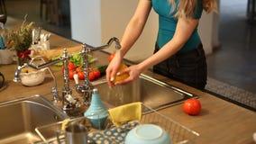 少妇洗涤的菜 股票录像