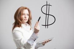 少妇画的美元标志 免版税图库摄影