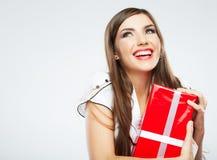 少妇画象举行圣诞节礼物 库存照片