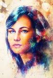 少妇画象和蓝眼睛,与春天花、颜色绘画和斑点结构,抽象背景 免版税图库摄影