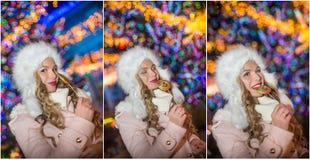 少妇画象有长公平头发摆在的室外在冷的冬天晚上 拿着一个大棒棒糖的美丽的金发碧眼的女人 库存图片