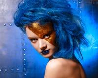少妇画象超级英雄化妆用品的 免版税图库摄影