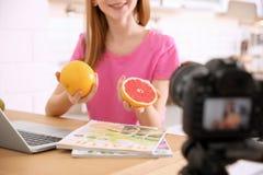 少年博客作者用记录录影的果子在桌上 免版税库存图片