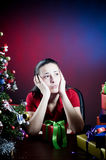 少年圣诞节的女孩 库存照片