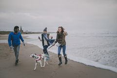 少年在冬天海滩的步行狗 免版税库存照片