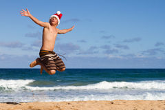 少年在圣诞节的夏威夷 免版税图库摄影