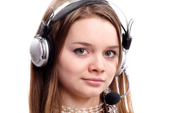 少年女孩的耳机 免版税库存图片