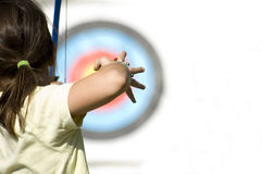 少年射手座的女孩 图库摄影