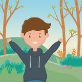 少年男孩动画片设计传染媒介例证 皇族释放例证