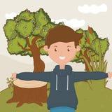 少年男孩动画片设计传染媒介例证 库存例证