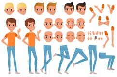少年男孩字符建设者 套各种各样的男性情感面孔、发型、手、姿态和腿 平的设计 向量例证