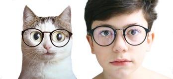 少年近视更正玻璃的孩子男孩 免版税库存照片