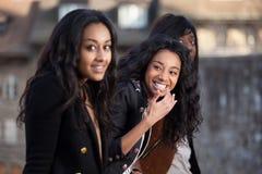 少年非洲裔美国人的女孩的纵向 免版税库存照片