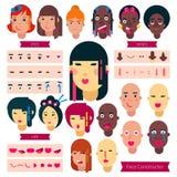 少年面孔建设者传染媒介青少年的字符女孩或男孩具体化创作例证套面部元素 向量例证