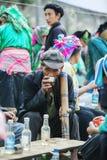 少数族裔人在餐馆,在老东范market 免版税图库摄影