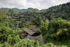 少数族裔在茫茫荒野中暗藏的苗族一个小村庄,湖南,中国 免版税图库摄影