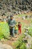 少数族裔生和油菜领域的女儿 库存照片