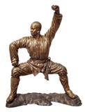 少林战士修士古铜雕象 库存照片