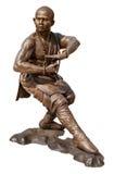 少林战士修士古铜雕象 免版税库存照片