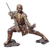 少林战士修士古铜雕象 免版税库存图片