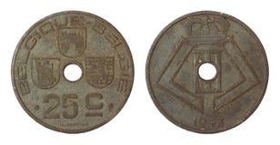 少见古色古香的比利时的硬币 图库摄影