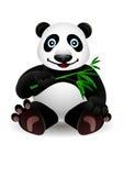 少许动画片熊猫和竹子 免版税库存照片