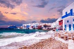 少许威尼斯, Mykonos海岛,希腊 图库摄影