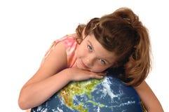 少许拥抱地球的女孩 库存图片