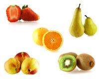少量fruites查出的集合白色 库存照片