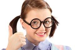 少年假geeky的女孩 库存图片