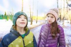 少年兄弟和姐妹冬天室外画象 免版税图库摄影