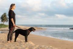 少年和她的狗在海滩 图库摄影