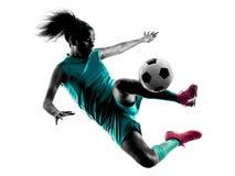 少年女孩儿童足球运动员被隔绝的剪影 图库摄影