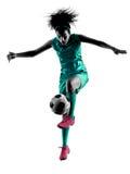 少年女孩儿童足球运动员被隔绝的剪影 库存图片