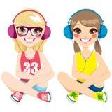 少年女孩听的音乐 向量例证