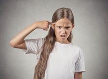 少年女孩要求是您疯狂? 免版税图库摄影