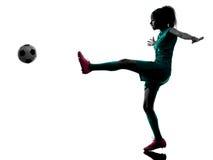 少年女孩足球运动员被隔绝的剪影 图库摄影