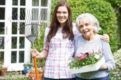 少年孙女帮助的祖母在庭院里 库存图片
