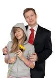 少年爸爸的女儿 免版税库存照片