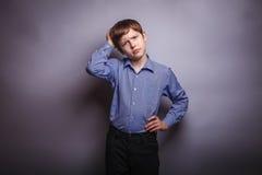 少年男孩褐色头发欧洲出现和 免版税图库摄影