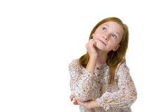 少年的沉思女孩的演播室画象 库存图片