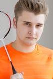少年羽毛球球员 库存图片