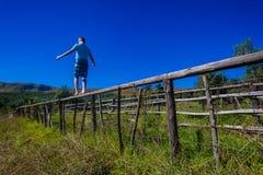 少年走的平衡的篱芭 库存照片