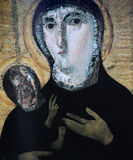 维尔京和儿童frescoe,圣诞老人弗兰切斯卡Romana教会,罗马,意大利 免版税库存图片