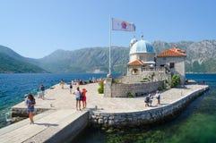 维尔京海岛在礁石Gospa od Skrpela海岛,黑山上的 免版税图库摄影