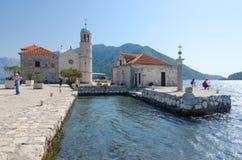 维尔京Iisland在礁石Gospa od Skrpela海岛,黑山上的 免版税库存图片