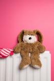 柴尔兹玩具熊和手套在卧室幅射器 免版税库存图片