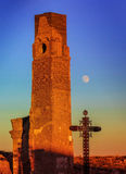 贝尔奇特村庄战争废墟在黄昏的阿拉贡西班牙 库存图片