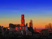 贝尔奇特村庄战争废墟在黄昏的阿拉贡西班牙 免版税库存照片