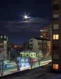 巴尔干塞尔维亚城市夜 免版税库存照片